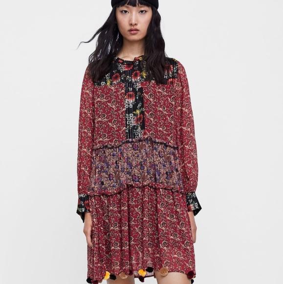 53bfb4e6 Zara Dresses   Boho Patchwork Print Dress With Pompoms   Poshmark